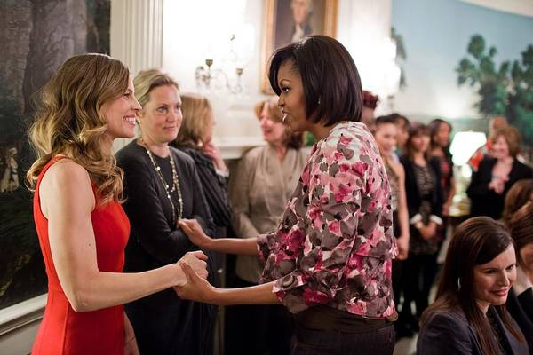 History Art Print featuring the photograph Michelle Obama Greets Actress Hilary by Everett