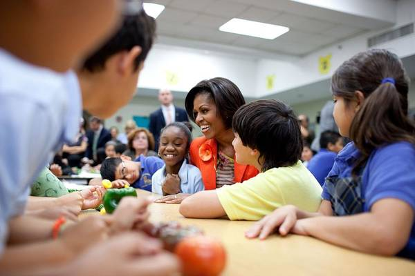 History Art Print featuring the photograph Michelle Obama Joins Students by Everett