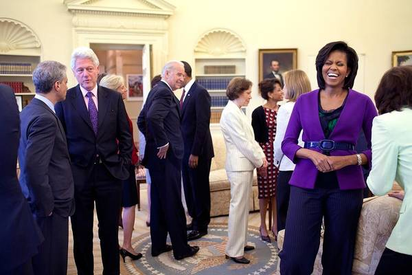 History Art Print featuring the photograph Michelle Obama Laughs With Guests by Everett
