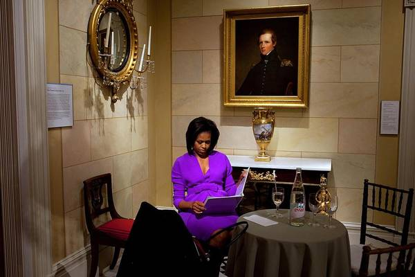 History Art Print featuring the photograph Michelle Obama Prepares Before Speaking by Everett