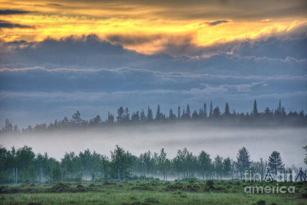 Hdr Art Print featuring the photograph Mid Summer Night's Fog by Heiko Koehrer-Wagner