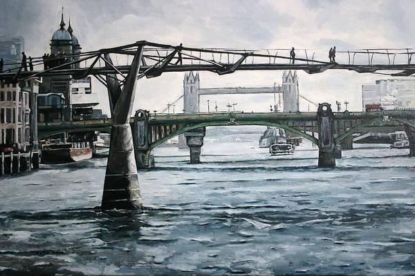 Bridges Art Print featuring the painting Millennium Bridge London by Victor SOTO
