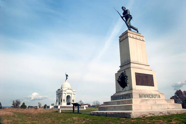 Gettysburg Art Print featuring the photograph Minnesota Monument At Gettysburg by Paul W Faust - Impressions of Light