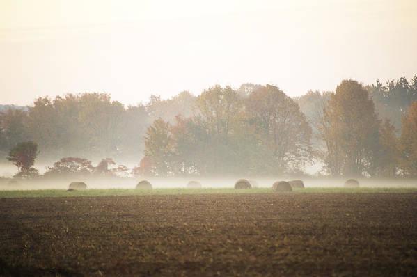 Mist Art Print featuring the photograph Misty Haystacks by Elaine Mikkelstrup