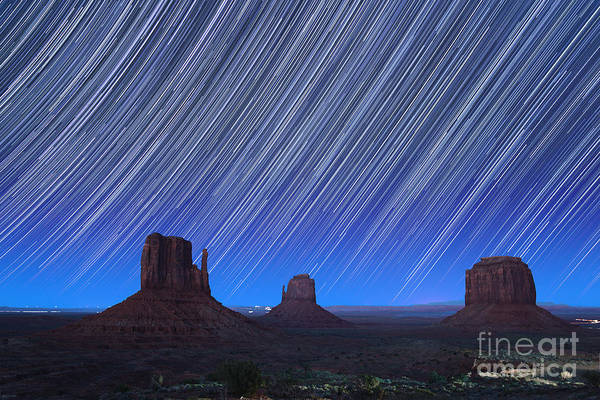 Abstract Art Print featuring the photograph Monument Valley Star Trails 1 by Jane Rix