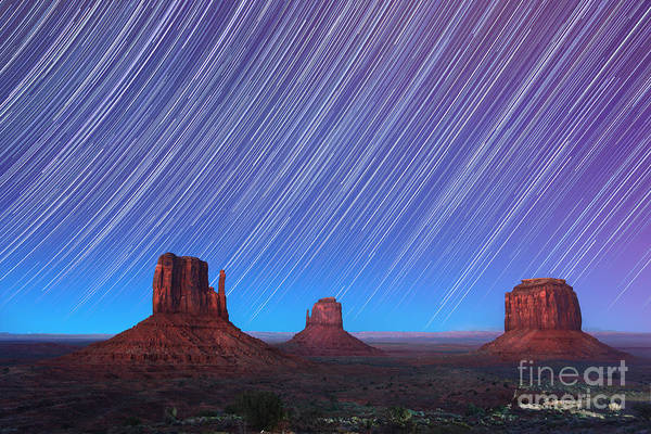 Abstract Art Print featuring the photograph Monument Valley Star Trails by Jane Rix