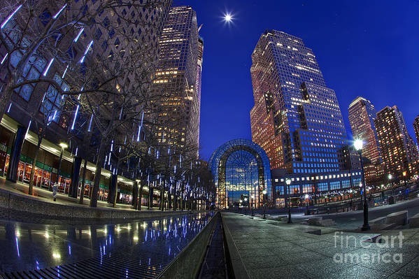Full Moon Art Print featuring the photograph Moon Over Financial Center by Anthony Festa