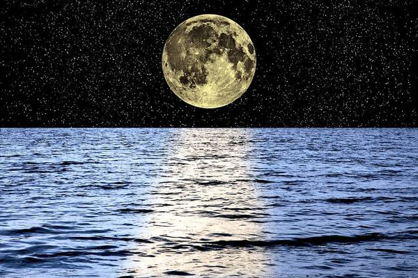 Moon Art Print featuring the photograph Moon Over The Sea, Composite Image by Victor De Schwanberg