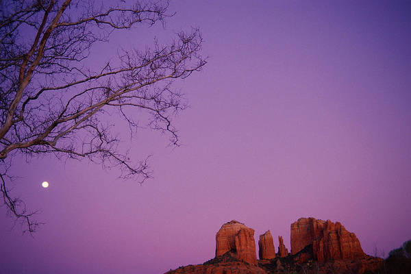 Horizontal Art Print featuring the photograph Moonrise Over Oak Creek Canyon by Stockbyte