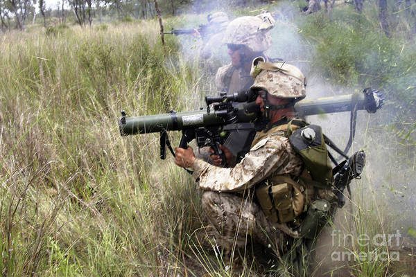 Adults Only Print featuring the photograph Mortarman Fires An At4 Anti-tank Weapon by Stocktrek Images