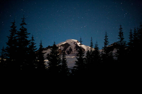 Mount Baker Art Print featuring the photograph Mount Baker Starry Night by Mike Reid