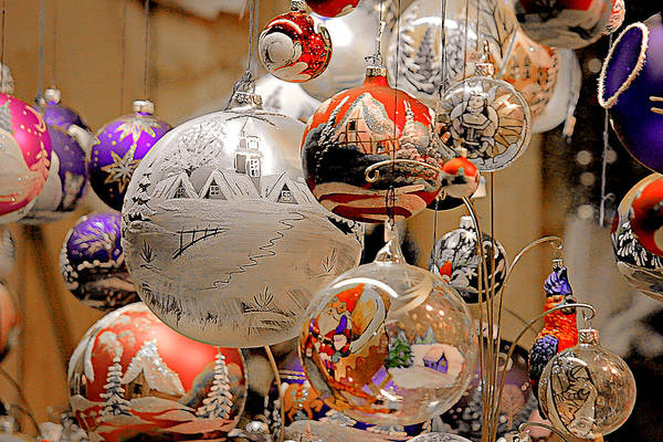 Holidays Art Print featuring the photograph Mouth-blown Hand Painted Christmas Ornaments by Christine Till