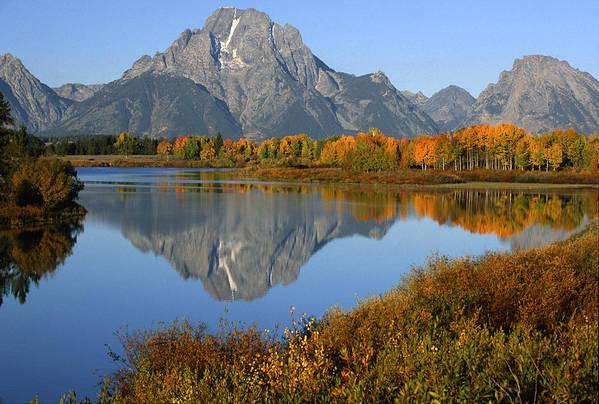 Grand Teton Art Print featuring the photograph Mt. Moran Reflection by Sandra Bronstein