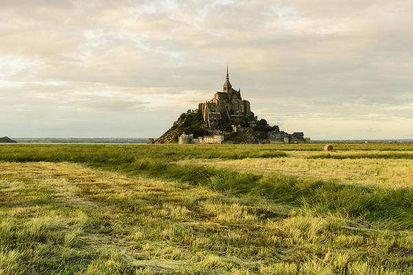 Horizontal Art Print featuring the photograph Mt Saint Michel At Sunset by Berthold Trenkel