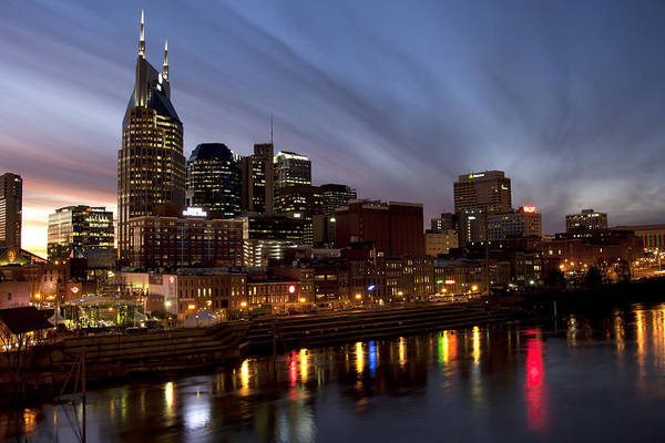 Cityscape Art Print featuring the photograph Music City Sunset by Heather Reeder