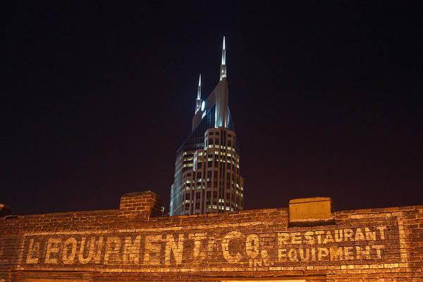 Nashville Print featuring the photograph Nashville Downtown Night Scene by Douglas Barnett