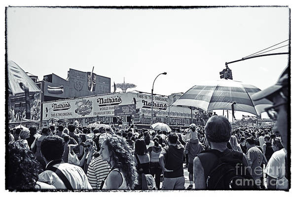 Nathans Art Print featuring the photograph Nathan's Crowd In Coney Island 1 by Madeline Ellis