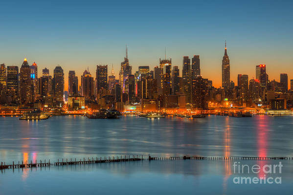 Clarence Holmes Art Print featuring the photograph New York City Skyline Morning Twilight IIi by Clarence Holmes
