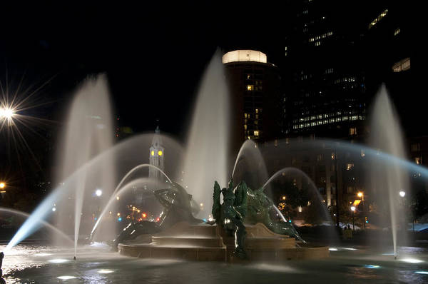Night View Of Swann Fountain Art Print featuring the photograph Night View Of Swann Fountain by Bill Cannon