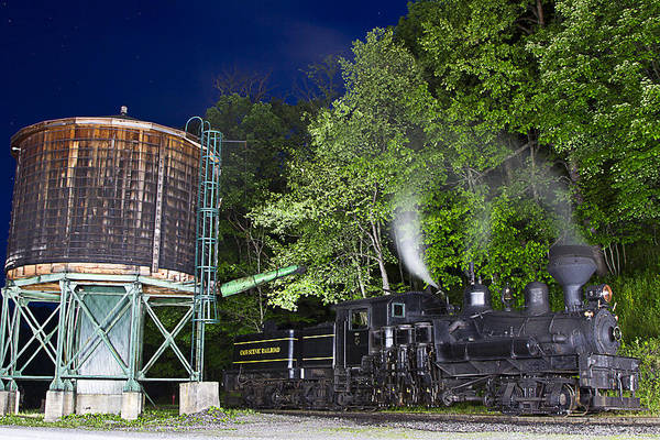 Locomotive cass Scenic Railroad west Virginia Scenic Rural Lumber Timber Cass steam Engines steam Locomotive Railroad Railway Shay Art Print featuring the photograph Nightime Shay Five by Tom Steele