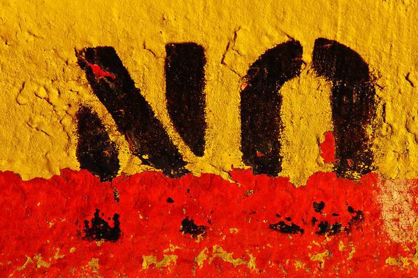 Concrete Art Print featuring the digital art No Means No by David Clanton