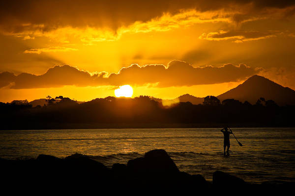 Paddleboard Art Print featuring the photograph Noosa Sunset Paddle Board 1 by Tony Irving