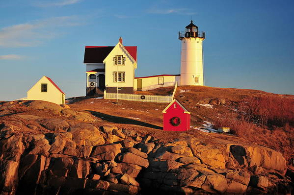 Cape Neddick Lighthouse Art Print featuring the photograph Nubble Light Sunset by Catherine Reusch Daley
