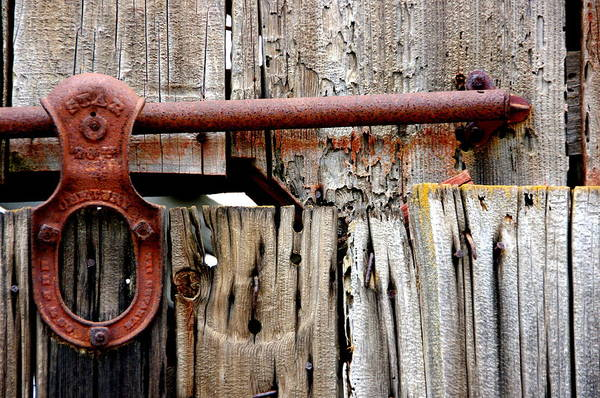 Red Barn Art Print featuring the photograph Old Barn Door Detail by Jeff Lowe