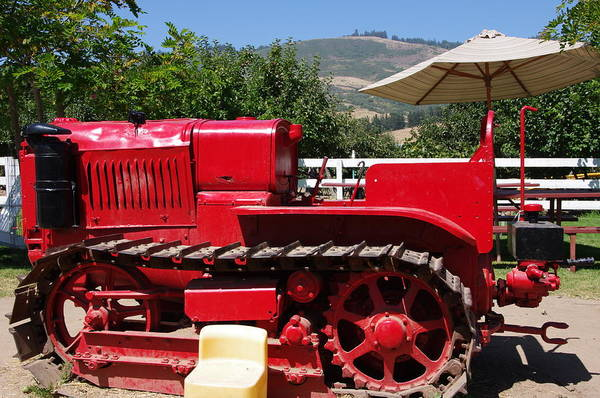 Old Red Tractor Art Print featuring the photograph Old Red Tractor by Jeff Lowe