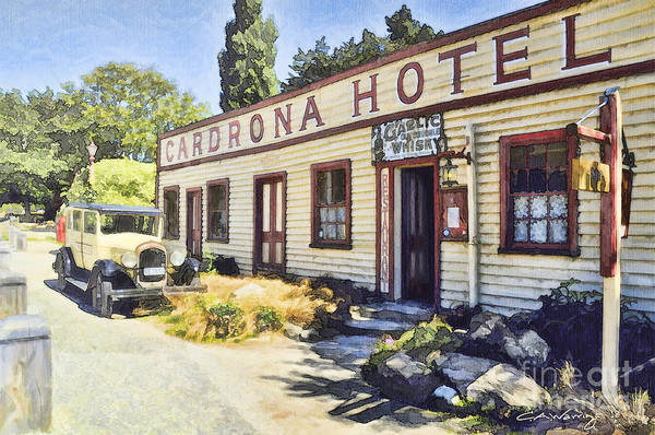 Art Print featuring the digital art out front Cardrona Hotel by Chris Warring