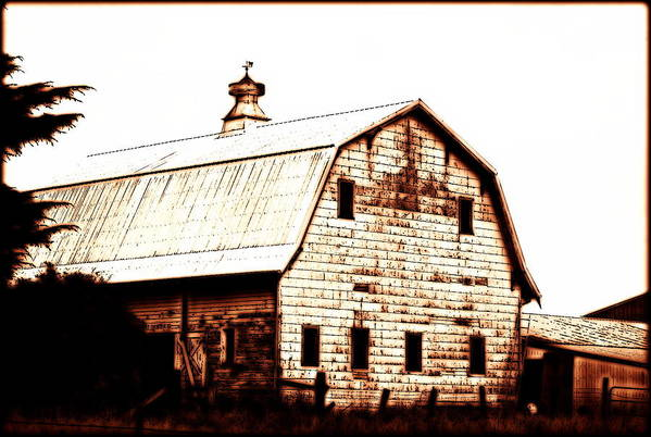 Barn Art Print featuring the digital art Out West by Kathy Sampson