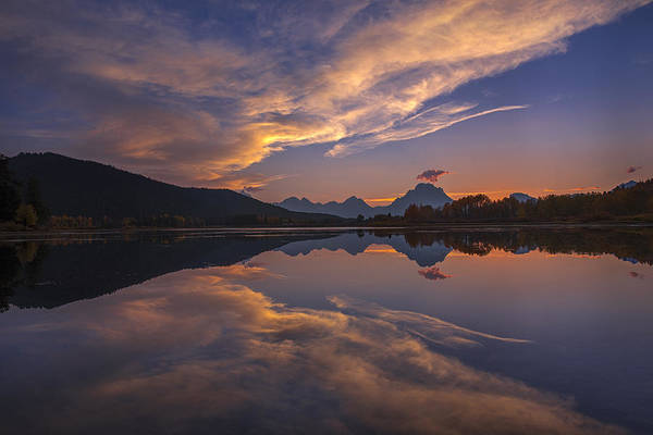 Ox Bow Bend Art Print featuring the photograph Ox Bow Bend Sunset by Joseph Rossbach