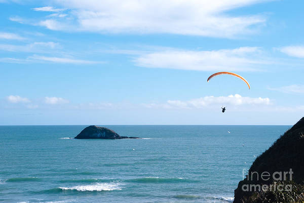 Para-glider Art Print featuring the photograph Paraglider On The Ocean Beach by Yurix Sardinelly