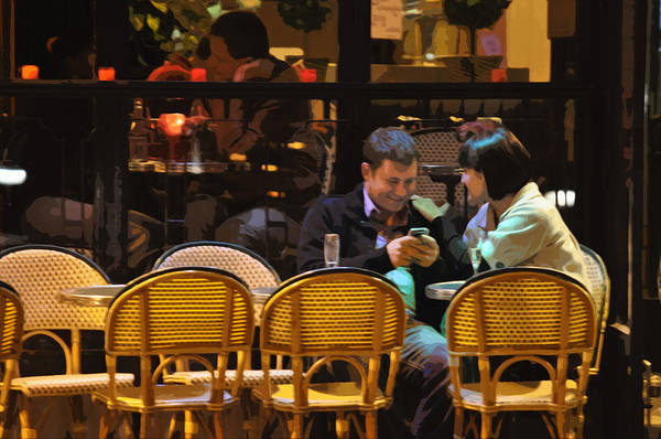 Paris At Night In The Cafe Art Print featuring the photograph Paris At Night In The Cafe by Mary Machare