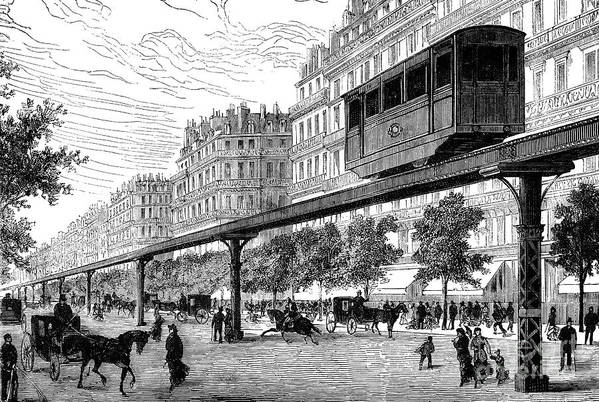 1880s Art Print featuring the photograph Paris: Tramway, 1880s by Granger