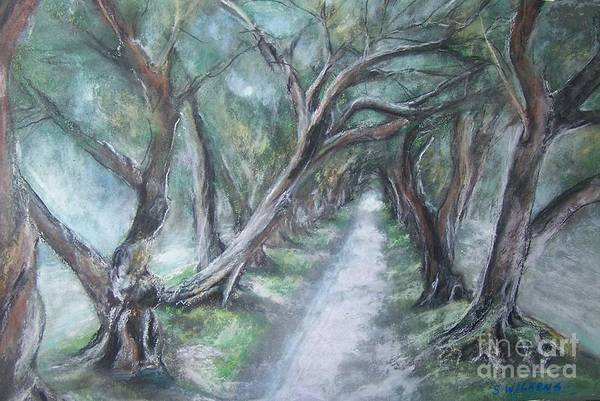 Trees Art Print featuring the painting Pathwalk by Sharon Wilkens