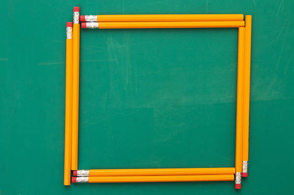 Horizontal Art Print featuring the photograph Pencils Framing An Area Of Chalkboard by Jon Schulte