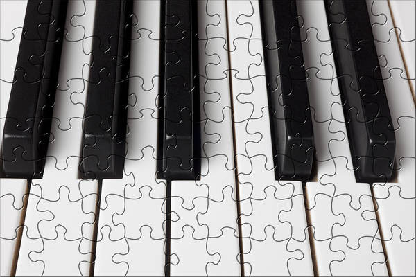 Piano Art Print featuring the photograph Piano Keys Jigsaw by Garry Gay