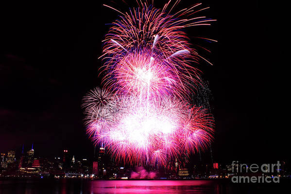 Manhattan Art Print featuring the photograph Pink Fireworks At Nyc by Archana Doddi