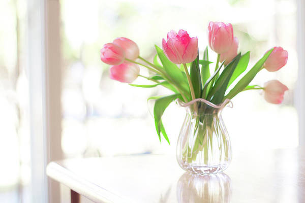 Horizontal Art Print featuring the photograph Pink Glass Vase Of Pink Tulips In Window by Jessica Holden Photography