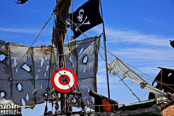 Pirate Ship Target Tattered Sails Canon Art Print featuring the photograph Pirate Ship With Target by Garry Gay