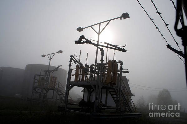 Industrial Art Print featuring the photograph Platforms And Tanks At Petrocor In The Fog by Gary Chapple