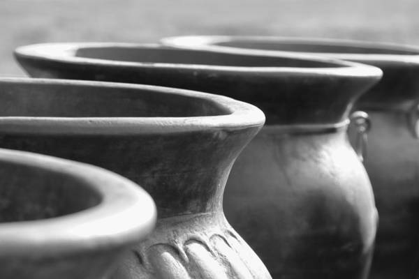 Terracotta Art Print featuring the photograph Pots In Black And White by Kathy Clark