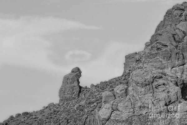 'praying Monk' Art Print featuring the photograph Praying Monk With Halo Camelback Mountain Bw by James BO Insogna