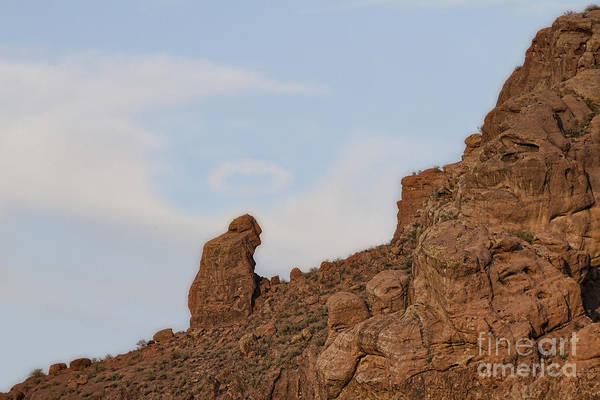 'praying Monk' Art Print featuring the photograph Praying Monk With Halo Camelback Mountain by James BO Insogna