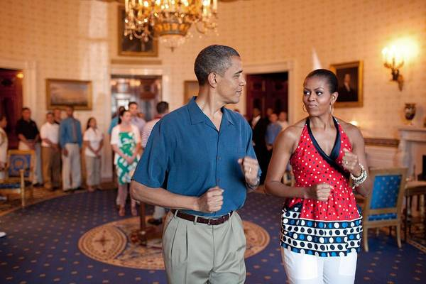 History Art Print featuring the photograph President And Michelle Obama Pretend by Everett