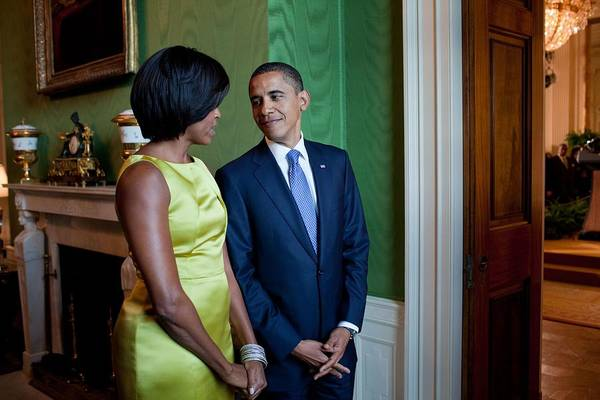 History Print featuring the photograph President And Michelle Obama Wait by Everett