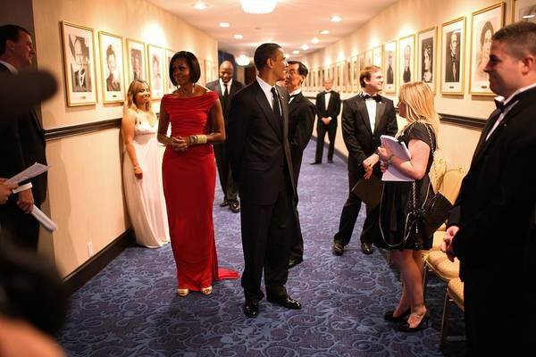 History Art Print featuring the photograph President Obama And Michelle Obama Wait by Everett