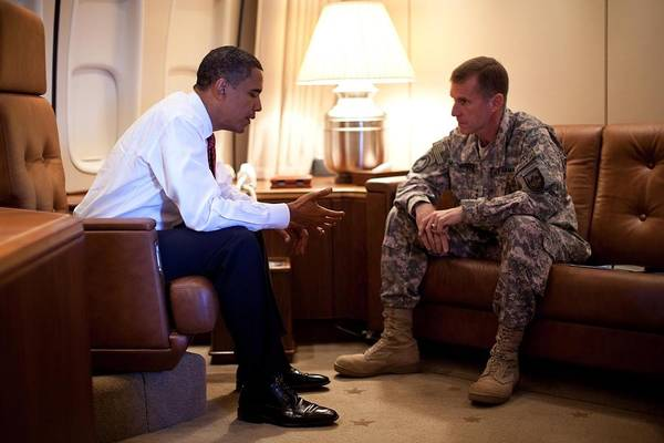 History Art Print featuring the photograph President Obama Meets With Army Gen by Everett