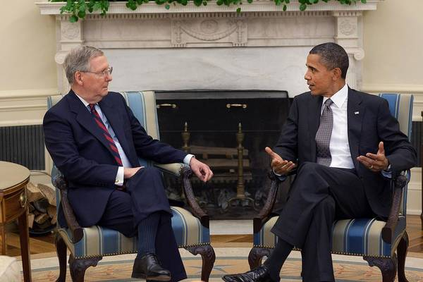History Art Print featuring the photograph President Obama Meets With Senate by Everett